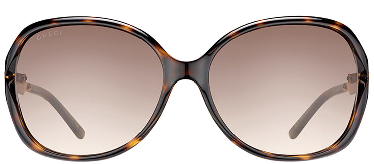 Gucci GG 0076S 003 Fashion Plastic Tortoise/ Havana Sunglasses with Brown Gradient Lens