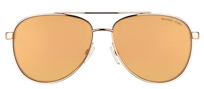 Michael Kors MK 5007 1080R1 Aviator Metal Gold Sunglasses with Rose Gold Flash Lens