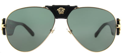 Versace VE 2150Q 100271 Baroque Aviator Metal Gold Sunglasses with Green Lens