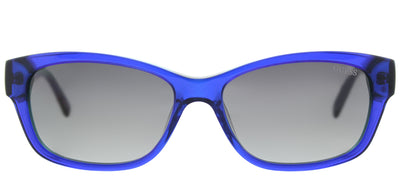 Guess GU 7409 90X Cat-Eye Plastic Blue Sunglasses with Blue Mirror Lens