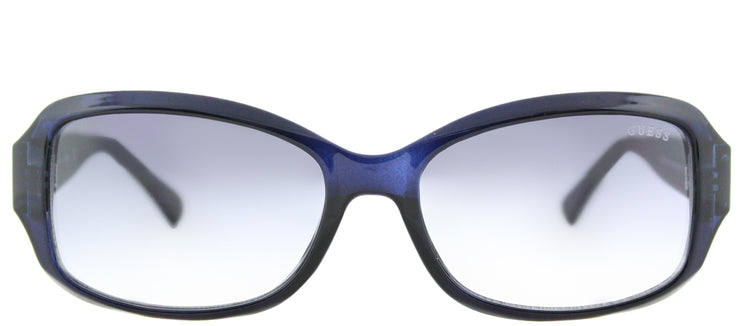 Guess GU 7410 90C Oval Plastic Blue Sunglasses with Grey Mirror Lens