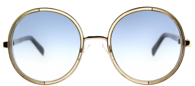 Jimmy Choo JC Andie S9R Round Metal Gold Sunglasses with Blue Gradient Lens
