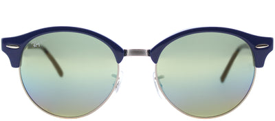 Ray-Ban RB 4246 1223C4 Clubmaster Plastic Blue Sunglasses with Blue Gold Rainbow Flash Lens