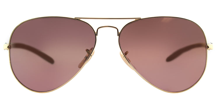 Ray-Ban RB 8317CH 001/6B Aviator Metal Gold Sunglasses with Purple Mirror Chromance Lens