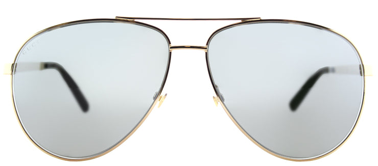 Gucci GG 0137S 002 Aviator Metal Gold Sunglasses with Grey Mirror Lens