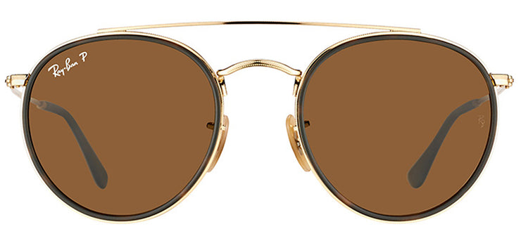 Ray-Ban RB 3647N 001/57 Round Metal Gold Sunglasses with Brown Polarized Lens