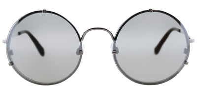 Balenciaga BA 0086 14C Round Metal Ruthenium/ Gunmetal Sunglasses with Smoke Mirror Lens