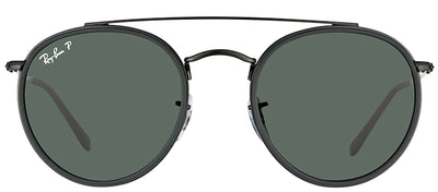 Ray-Ban RB 3647N 002/58 Round Metal Black Sunglasses with Green Polarized Lens