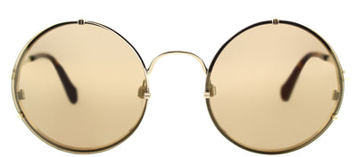 Balenciaga BA 0086 33G Round Metal Gold Sunglasses with Brown Mirror Lens