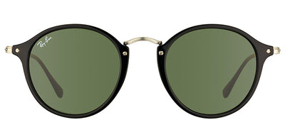 Ray-Ban RB 2447 901 Round Plastic Black Sunglasses with Green Lens