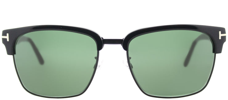 Tom Ford TF 367 02B Square Metal Black Sunglasses with Grey Gradient Lens