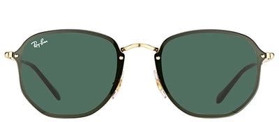 Ray-Ban RB 3579N 001/71 Square Metal Gold Sunglasses with Green Lens