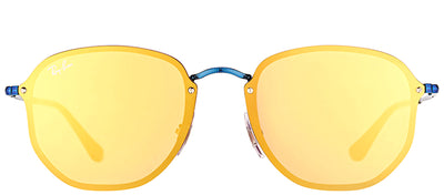 Ray-Ban RB 3579N 90387J Square Metal Blue Sunglasses with Dark Orange Gold Mirror Lens