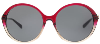 Coach HC 8214F 547387 Round Plastic Burgundy/ Red Sunglasses with Dark Grey Lens