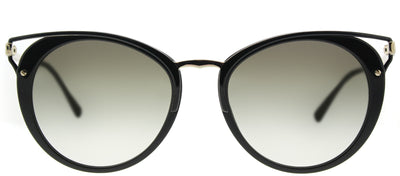 Prada PR 66TS 1AB0A7 Round Metal Black Sunglasses with Grey Gradient Lens