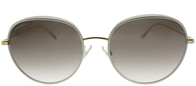 Jimmy Choo JC ELLO ONR Oval Metal Gold Sunglasses with Brown Gradient Lens