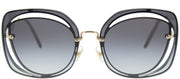 Miu Miu MU 54SS UE65D1 Fashion Metal Blue Sunglasses with Grey Gradient Lens