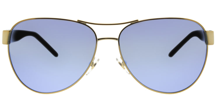 Tory Burch TY 6051 304122 Aviator Metal Gold Sunglasses with Blue Flash Mirrored Polarized Lens