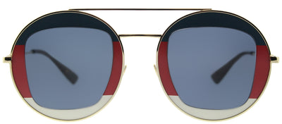 Gucci GG 0105S 005 Round Metal Gold Sunglasses with Blue Lens
