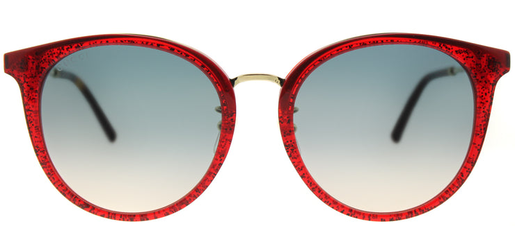 Gucci GG 0204SK 005 Fashion Plastic Burgundy/ Red Sunglasses with Blue Gradient Lens