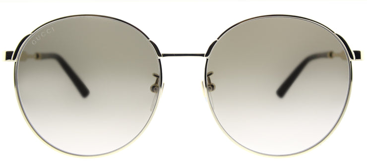Gucci GG 0206SK 003 Round Metal Gold Sunglasses with Brown Gradient Lens