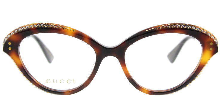 Gucci GG 0215O 002 Cat-Eye Plastic Brown Eyeglasses with Demo Lens