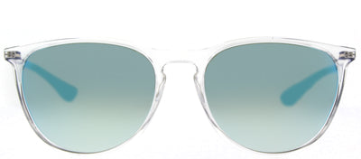 Ray-Ban Junior RJ 9060S 7029B7 Round Plastic Clear Sunglasses with Blue Mirror Lens