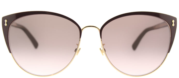 Gucci GG 0197SK 005 Fashion Metal Burgundy/ Red Sunglasses with Brown Gradient Lens