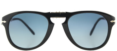 Persol Steve McQueen PO 714SM 95/S3 Round Plastic Black Sunglasses with Blue Gradient Polarized Lens