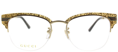 Gucci GG 0201O 004 Clubmaster Plastic Gold Eyeglasses with Demo Lens