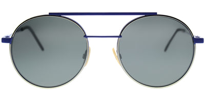 Fendi FF 0221 PJP T4 Round Metal Blue Sunglasses with Silver Mirror Lens