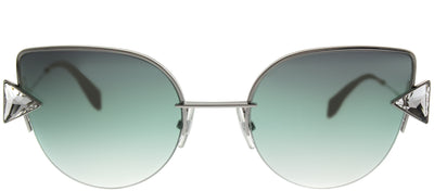 Fendi FF 0242S VGVS Cat-Eye Metal Silver Sunglasses with Green Violet Lens