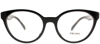 Prada PR 01TVF 1AB1O1 Cat-Eye Plastic Black Eyeglasses with Demo Lens