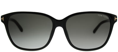 Tom Ford TF 432 01B Rectangle Plastic Black Sunglasses with Grey Gradient Lens