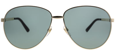 Gucci GG 0138S 001 Aviator Metal Gold Sunglasses with Green Lens