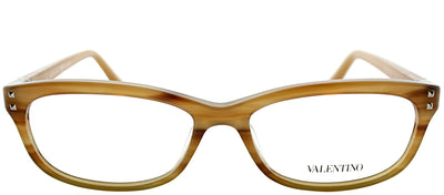 Valentino VL 2649 205 Rectangle Plastic Brown Eyeglasses with Demo Lens