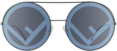 Fendi FF 0285 807 Round Metal Black Sunglasses with Grey Lens