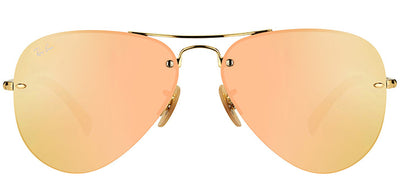 Ray-Ban RB 3449 001/2Y Aviator Metal Gold Sunglasses with Rose Mirror Lens