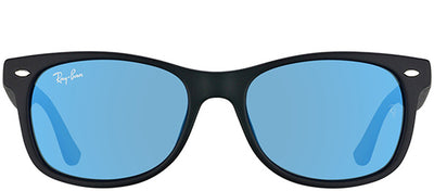 Ray-Ban Junior RJ 9052SF 100S55 Wayfarer Plastic Black Sunglasses with Blue Mirror Lens
