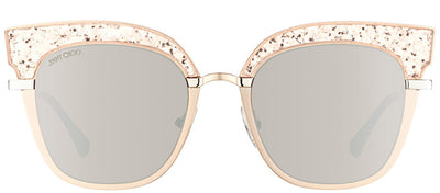 Jimmy Choo JC Rosy 68I Square Plastic Pink Sunglasses with Gold Mirror Lens
