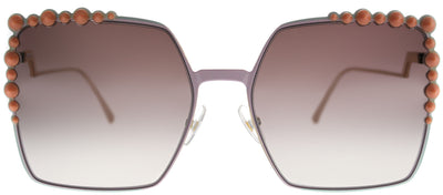 Fendi FF 0259 35J Square Metal Pink Sunglasses with Brown Mirror Gradient Lens