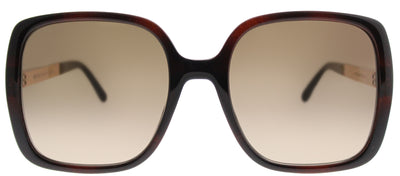Jimmy Choo JC Chari 9N4 Square Plastic Tortoise/ Havana Sunglasses with Brown Gradient Lens