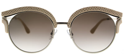 Jimmy Choo JC Lash PTF Cat-Eye Plastic Beige Sunglasses with Brown Gradient Lens