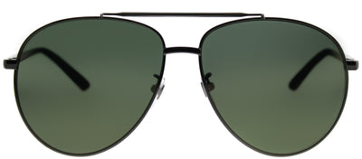 Gucci GG 0043SA 003 Aviator Metal Ruthenium/ Gunmetal Sunglasses with Green Gold Mirror Lens