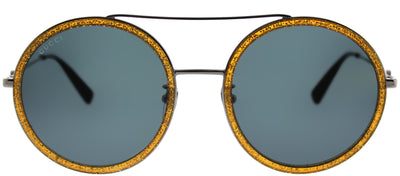 Gucci GG 0061S 004 Round Metal Gold Sunglasses with Blue Lens