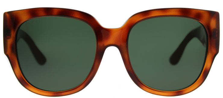 Gucci GG 0142SA 002 Square Plastic Tortoise/ Havana Sunglasses with Green Lens
