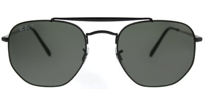Ray-Ban RB 3648 002/58 Square Metal Black Sunglasses with Green Polarized Lens