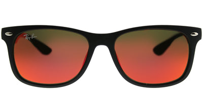 Ray-Ban Junior RJ 9052SF 100S6Q Wayfarer Plastic Black Sunglasses with Orange Mirror Lens