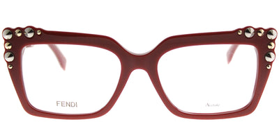Fendi FF 0262 C9A Square Plastic Burgundy/ Red Eyeglasses with Demo Lens