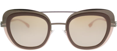 ic! Berlin IC Chichi ShinyBronz Cat-Eye Plastic Pink Sunglasses with Cinnamon Mirror Lens